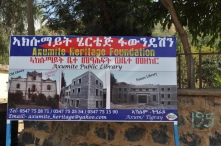The Axumite Heritage Foundation sign outside the grounds.